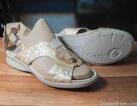 Beatrice twin strap Velcro sandal db Easy b 6E-8E EXTRA WIDE sandals in taupe beige Extra wide shoes ideal for orthotics from near Basingstoke